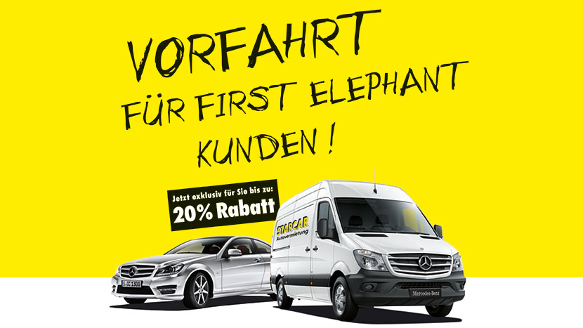 Starcar First Elephant Rabatt Sonderaktion